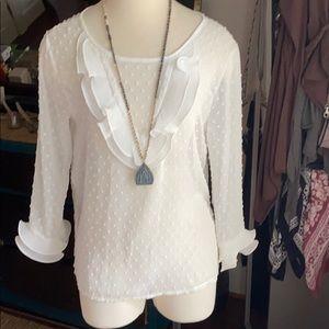 Tops - Ruffle sheer blouse